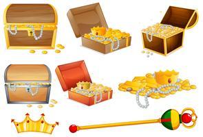 Schatztruhen und goldene Gegenstände vektor