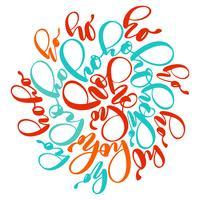 Ho-Ho-Ho julen skriven i ett cirkel kalligrafi vektor hälsningskort med modern pensel bokstäver. För presentation på kort, citationstecken för design, T-shirt, mugg, semesterinbjudningar