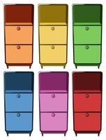 Schubladen in sechs verschiedenen Farben