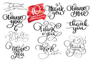 Sats med tio handskriven kalligrafi bokstäver texter Tack. handgjord vektor illustration