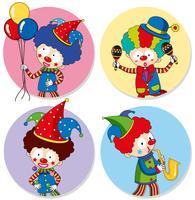 Fyra klistermallar med clowner och ballonger vektor