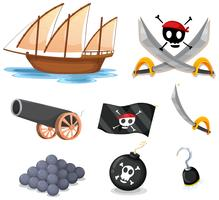 Piratuppsättning med segelbåt och vapen vektor