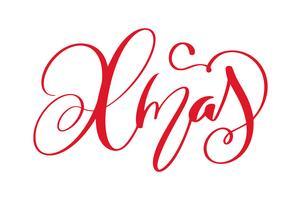 xmas kalligrafi bokstäver ord. Jul och nyår helgdagar. Vektor illustration EPS. Inredning för hälsningskort