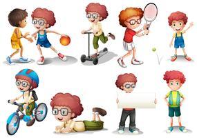 Pojke med lockigt hår i olika handlingar