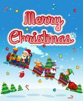 God julkort med jultomten på tåget vektor