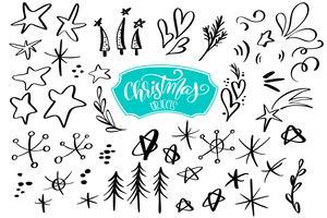 uppsättning juldesignelement i klotterstil. Vektor illustration