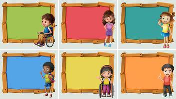 Banderolldesign med många barn