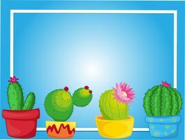 Gränsmall med kaktus i krukor vektor