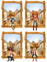 Vier Szenen von Cowboys und Cowgirl