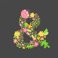 Blomstrande sommarampersand. Flower Capital Wedding Alphabet. Färgrik teckensnitt med blommor och löv. Vektor illustration skandinavisk stil
