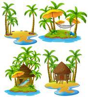 Vier Inseln mit Holzhütten- und Kokosnussbäumen vektor