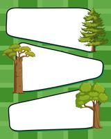 Papierschablone mit grünen Bäumen vektor