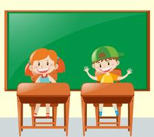 Zwei Schüler im Klassenzimmer vektor