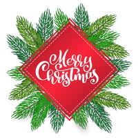text Glad jul hand skriftlig kalligrafi bokstäver på bakgrunden av ett julgran. Handgjord vektor illustration. Rolig pensel bläck typografi för foto överlägg, t-shirt tryck, flygblad, affisch design