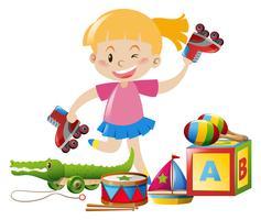 Tjej och många leksaker på golvet vektor