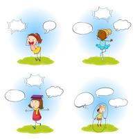 Set barn med speech balloon vektor