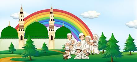 Eine große muslimische Familie in der Moschee