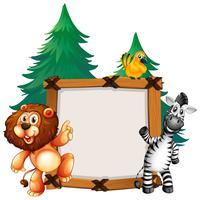 Rahmenschablone mit Löwe und Zebra