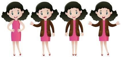 Frau im rosafarbenen Kleid, das verschiedene Aktionen tut vektor