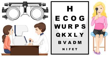 Augenuntersuchungsmaschine und Patienten vektor