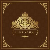 Thailändischer Kunstluxustempel und Hintergrundmuster vektor