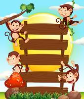 Apor på träskyltar