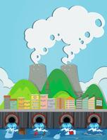 Ein Vektor des Abwasserkanalabfalls und der Fabrik