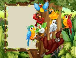 Ramdesign med vilda fåglar och apa