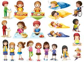 Barn och olika rutiner vektor