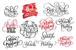 Satz von Black Friday Calligraphic Design Retro Style Elements. Weinlese verziert Verkaufs-Vektorillustration vektor