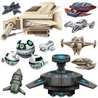 Unterschiedliches Design von Raumschiffen vektor