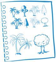 Kritzelt Bäume in blauer Farbe