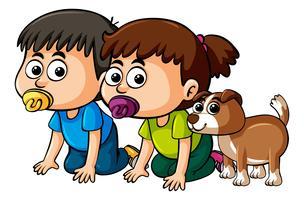 Två småbarn och söt hund vektor