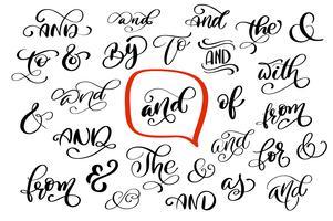 Stor samling av hand märkta ampersands och catchwords isolerade på vit bakgrund. Stor vektor design som är inställd för bröllopsinbjudningar, spara datumkort och andra stationära