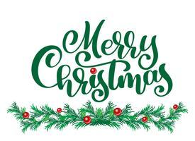 texter Merry Christmas handskriven kalligrafi bokstäver. handgjord vektor illustration. Rolig pensel bläck typografi för foto överlägg, t-shirt tryck, flygblad, affisch design