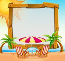 Rahmenschablone mit Strand im Hintergrund