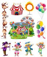 Clowns und andere Gegenstände aus dem Zirkus vektor