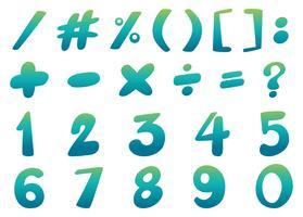 Teckensnittsdesign för siffror och tecken i blått