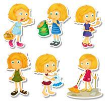 Blondes Mädchen, das verschiedene Tätigkeiten tut vektor