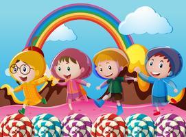 Lyckliga barn som springer i underlandet