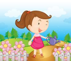 Ein lächelndes Mädchen mit Wasserkanne