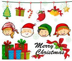 Weihnachtskartenschablone mit Leuten und Verzierungen vektor