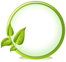 Eine runde Grenze mit vier grünen Blättern vektor