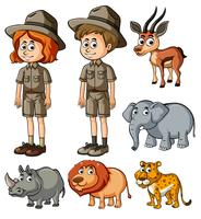 Parkrangers und viele wilde Tiere vektor