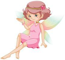 söt fe med rosa klänning och färgglada vingar