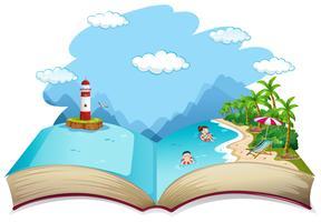 Offenes Buch Sommer Strandurlaub Thema vektor