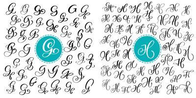 Ange bokstav G och H. Handdragen vektor blomstra kalligrafi. Skript typsnitt. Isolerade bokstäver skrivna med bläck. Handskriven penselstil. Handbokstäver för logotypemballage.