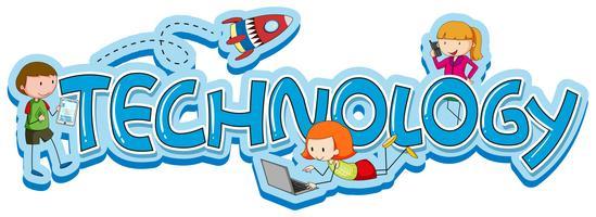 Orddesign för teknik med barn och prylar vektor