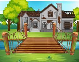 Gammalt hus vid floden vektor