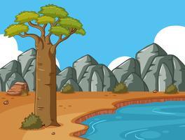 Szene mit felsigen Bergen und Teich vektor
